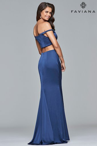 Faviana Prom Dresses Blue Satin Off the Shoulder Gown