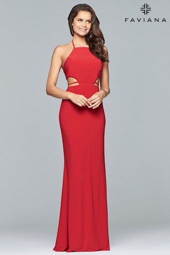 Faviana Prom Dresses High Neck Red Prom Dress