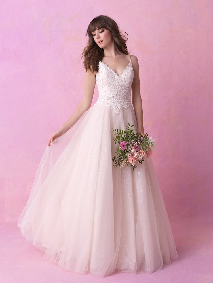 Allure Romance Style #3150 Thin Strap V-Neck Ballgown with Beading and Sparkle Tulle Skirt  Image