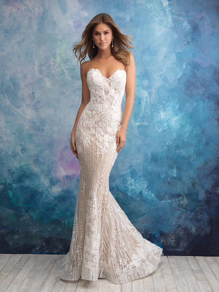 Allure Style #9550 Strapless Floral Lace Sheath Wedding Dress with Horsehair Trim  Image