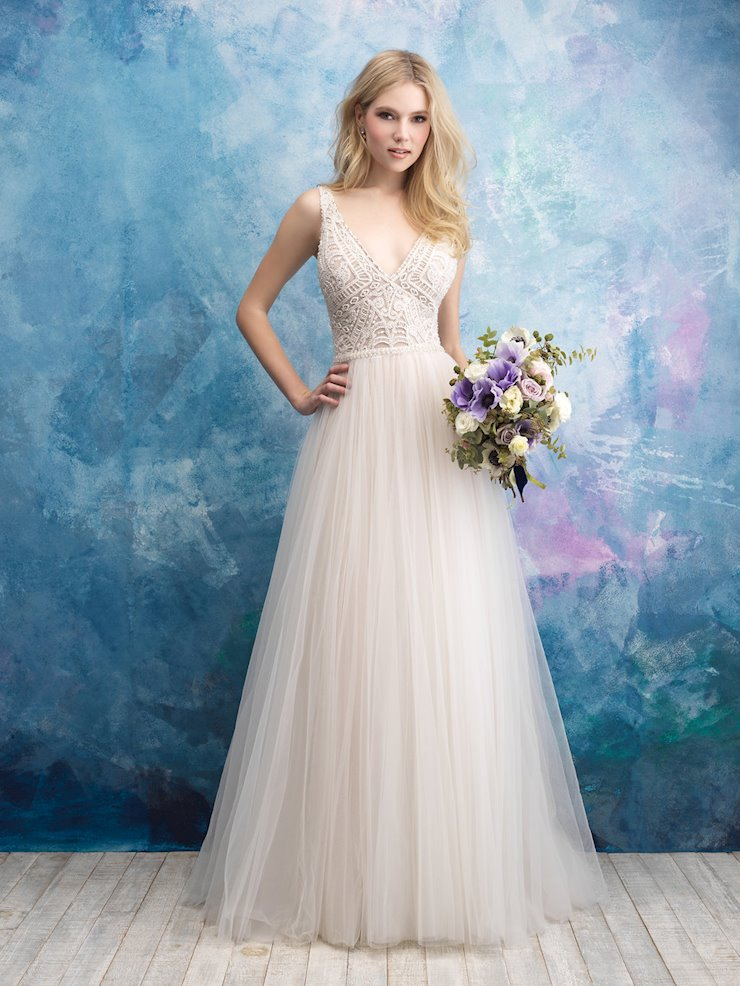Allure Style #9552 V-neck Geometric A-line Wedding Dress with Tulle Skirt and Low Back  Image