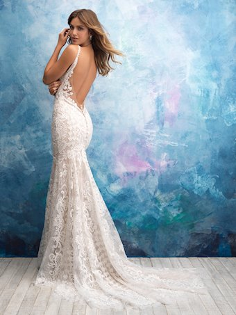 Allure Style #9575 Crystal and Beaded Thin Strap Lace Sheath Wedding Dress