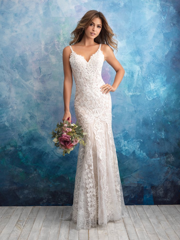 Allure Style #9575 Crystal and Beaded Thin Strap Lace Sheath Wedding Dress  Image