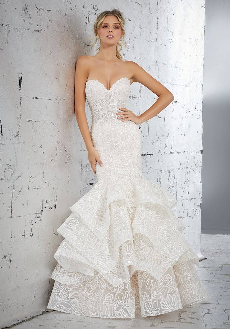 AF Couture by Morilee Style #1715 Mermaid Wedding Dress with Allover Embroidered Pattern and Beading  Image