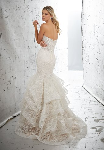 AF Couture by Morilee Style #1715 Mermaid Wedding Dress with Allover Embroidered Pattern and Beading