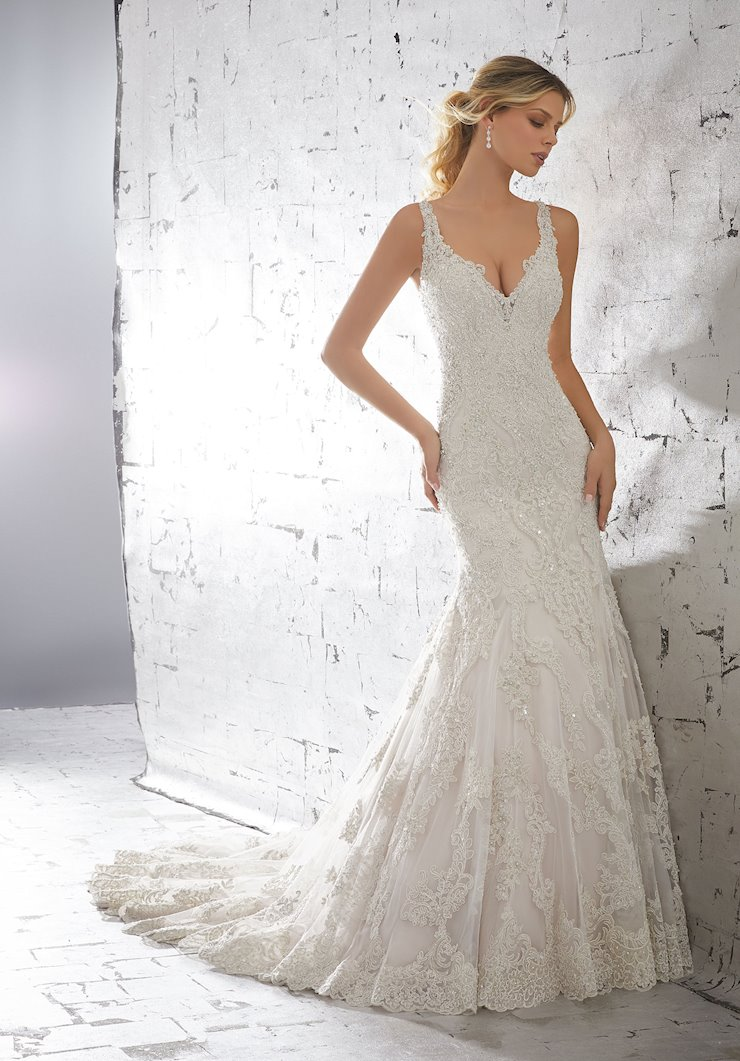 AF Couture by Morilee Style #1718 Beaded Fit and Flare Vintage Inspired Wedding Dress Image