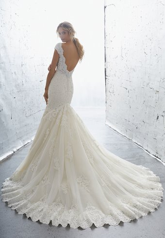 AF Couture by Morilee Style #1701 Off the Shoulder Deep-V Mermaid Wedding Dress Covered in Crystals and Beads