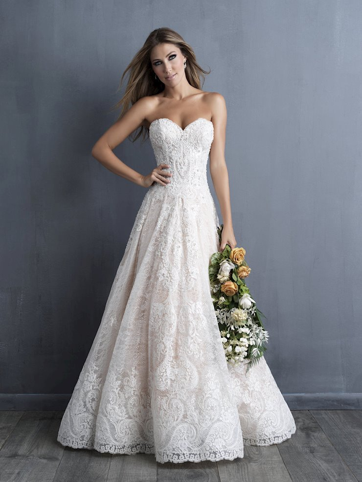 Allure Couture Style #C481 Strapless Sweatheart Lace Ballgown with Fully Beaded Bodice Image