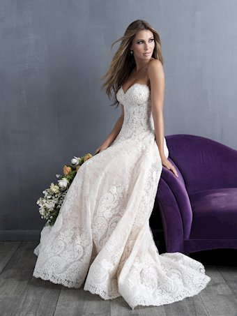 Allure Couture Style #C481 Strapless Sweatheart Lace Ballgown with Fully Beaded Bodice