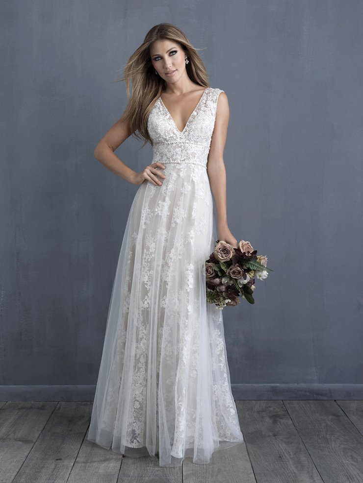 Allure Couture Style #C488 Sleeveless V-neck Lace Wedding Dress with Wide Waistband Detail Image