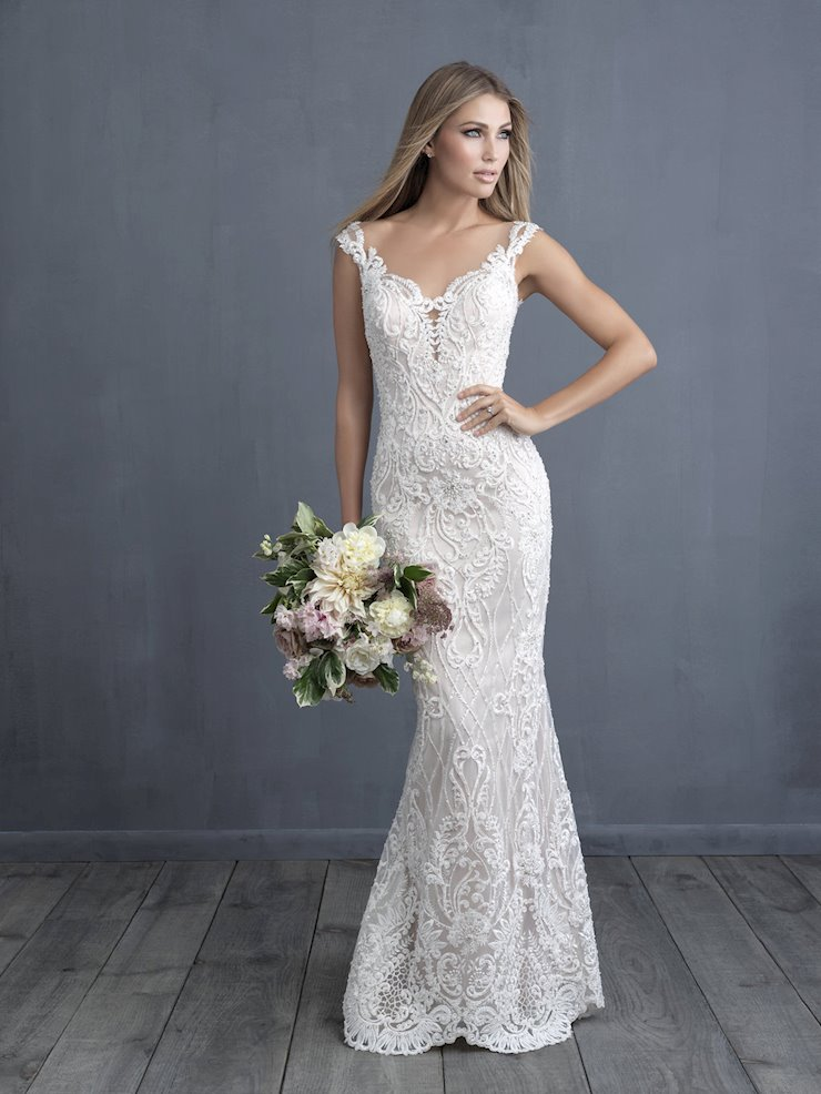 Allure Couture Style #C489  Sweetheart Beaded Lace Sheath Gown With Dramatic Sheer Back Panel and Image