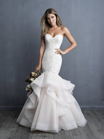 Allure Couture Style #C491 Fully Beaded Strapless Mermaid With Ruffled Skirt and Horsehair Trim