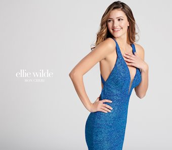 Ellie Wilde Prom Dresses Blue Glitter Jersey Prom Dress