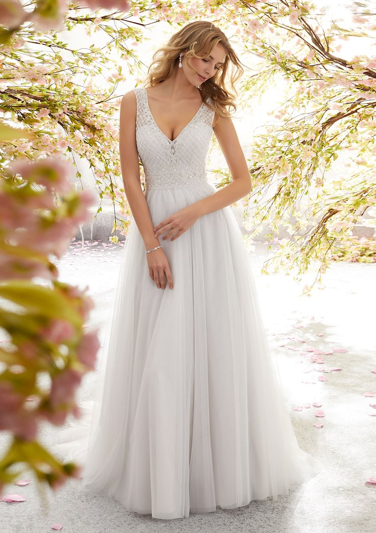 Morilee Style #6891 Beaded and Crystal V-Neck A-line Wedding Dress  Image