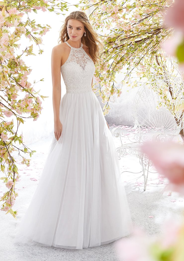 Morilee Style #6898 Tulle A-line Wedding Dress with Halter Neckline and Crystals  Image