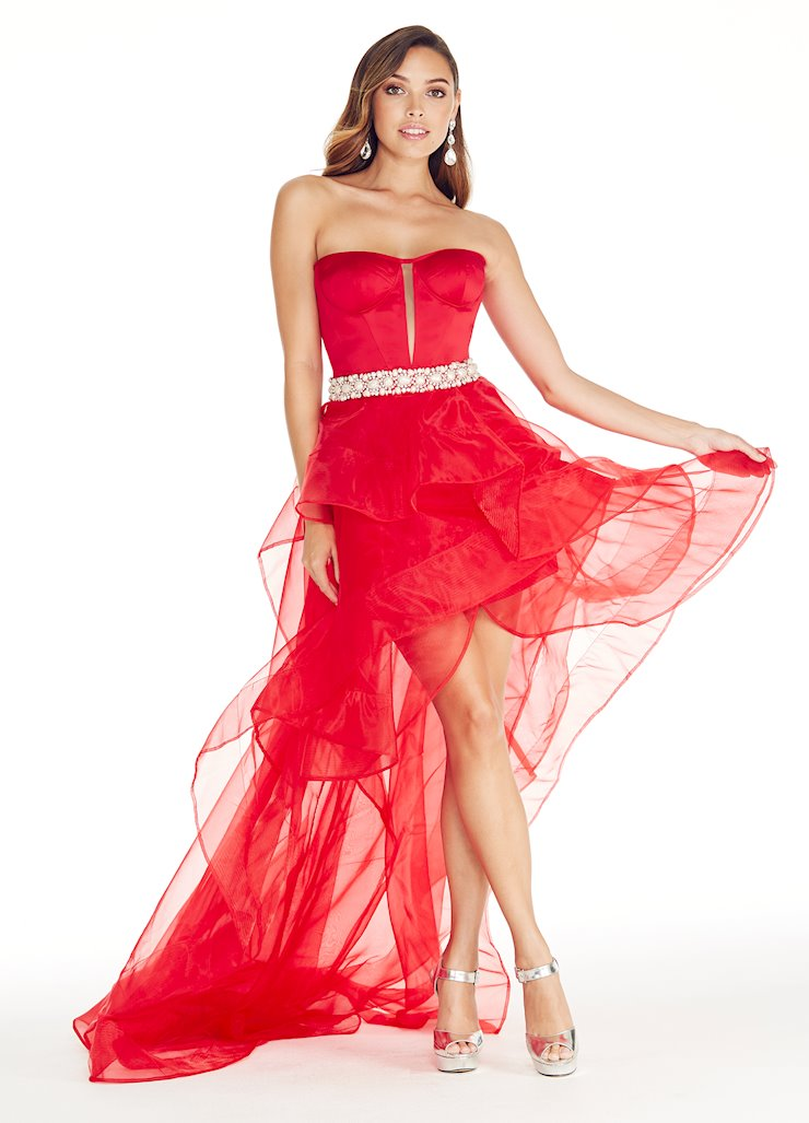 Ashley Lauren Corseted High-Low Evening Dress Image