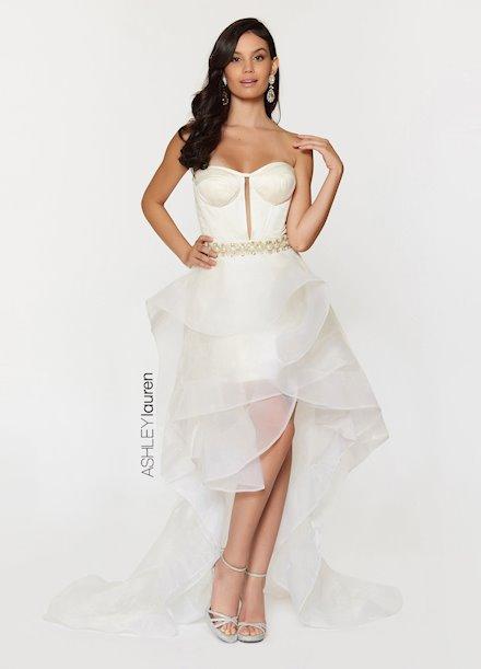 Ashley Lauren Corseted High-Low Evening Dress