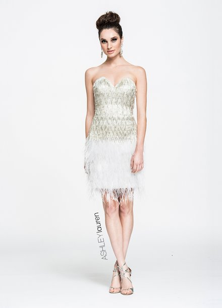 Ashley Lauren Feathered Cocktail Dress
