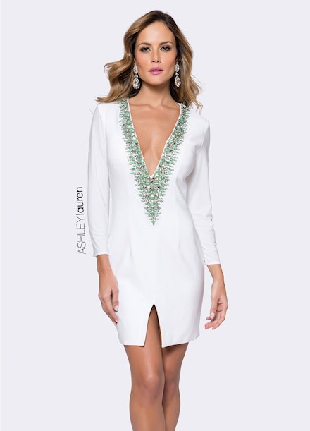 Ashley Lauren Turquoise Beaded Jersey Cocktail Dress