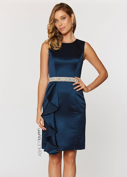 Ashley Lauren Pearl & Rhinestone Belted Cocktail Dress