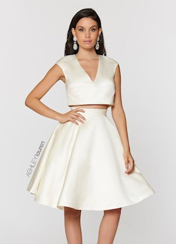 Ashley Lauren V-Neck Two Piece Cocktail Dress