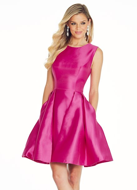 Ashley Lauren Mikado Cocktail Dress with Overskirt