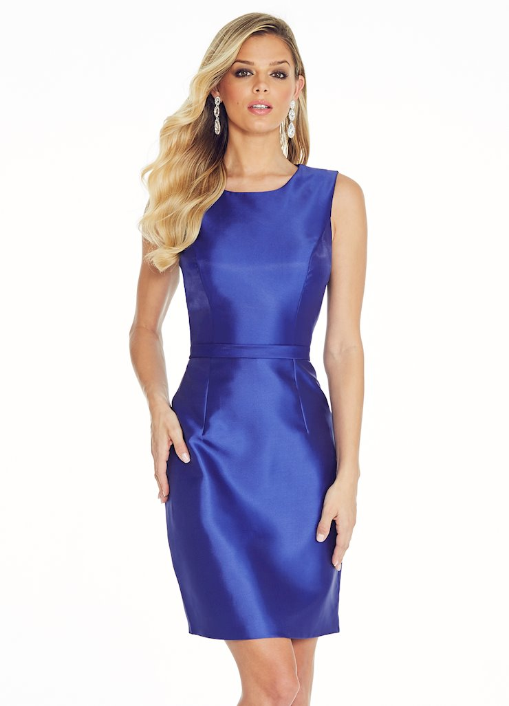 Ashley Lauren Crew Neckline Mikado Cocktail Dress