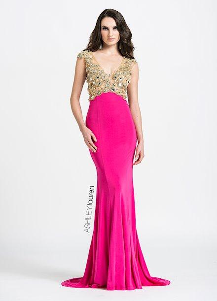 Ashley Lauren Beaded Jersey Evening Dress