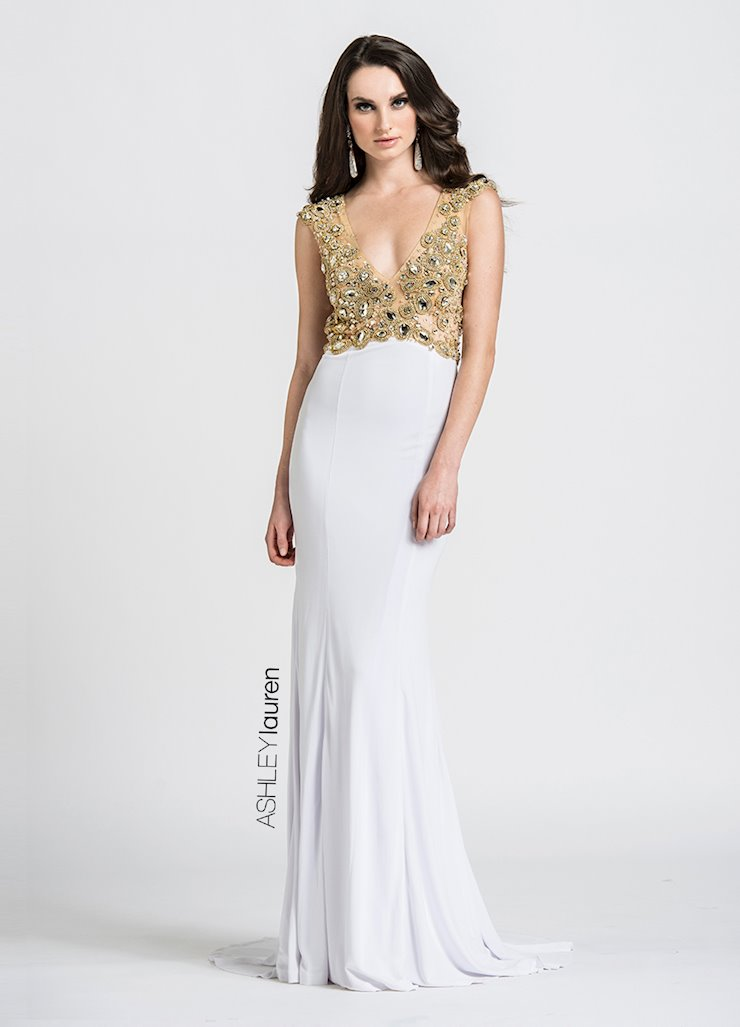 Ashley Lauren Beaded Jersey Evening Dress Image