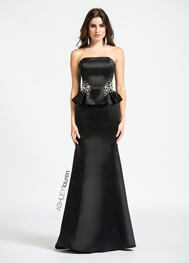 Ashley Lauren Beaded Peplum Evening Dress Image