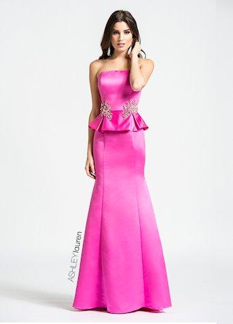 Ashley Lauren Beaded Peplum Evening Dress
