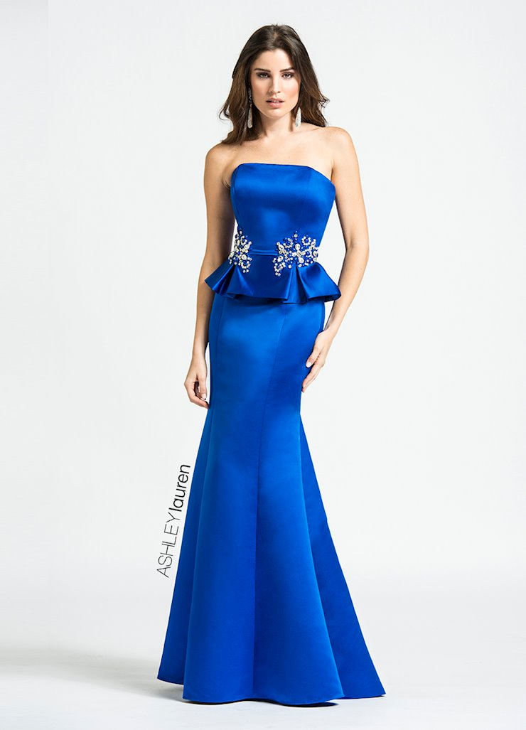 Ashley Lauren Beaded Peplum Evening Dress
