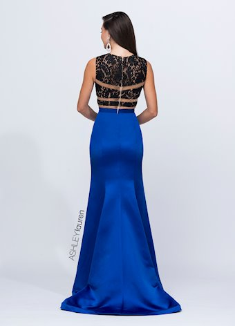 Ashley Lauren Illusion Lace and Satin Evening Dress