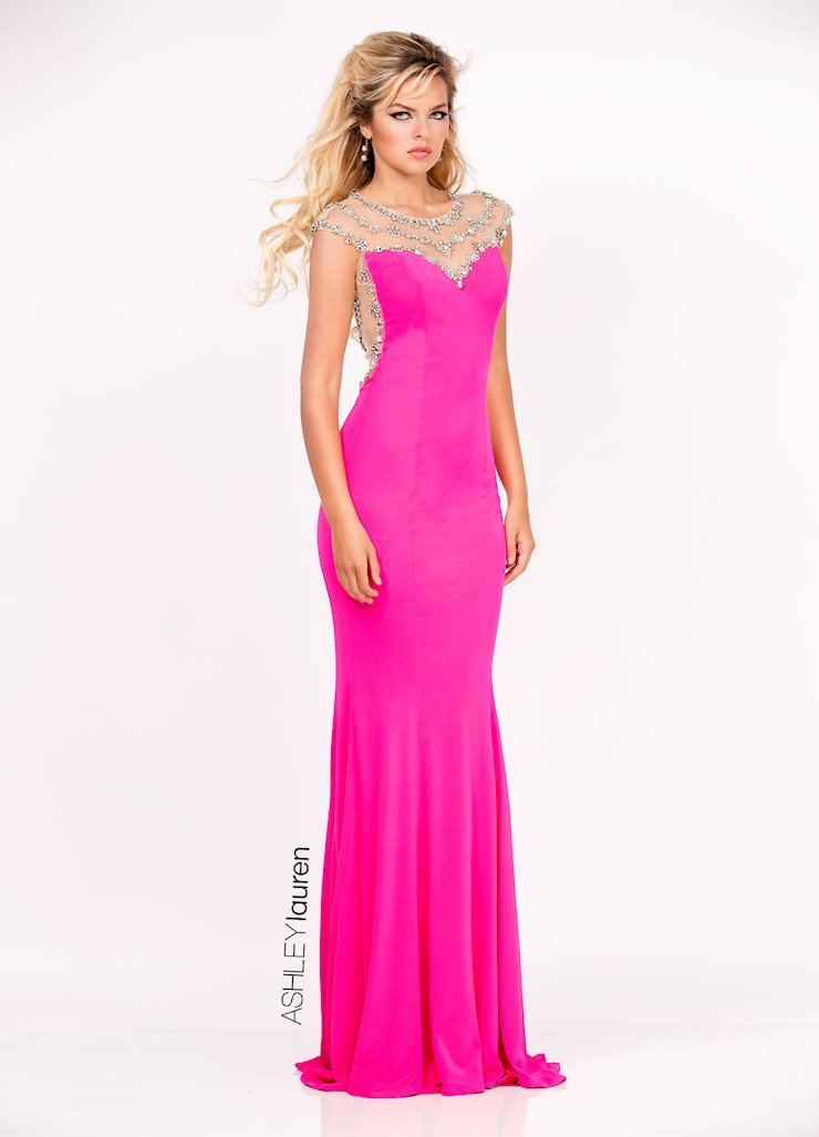 Ashley Lauren Illusion Back Jersey Evening Dress