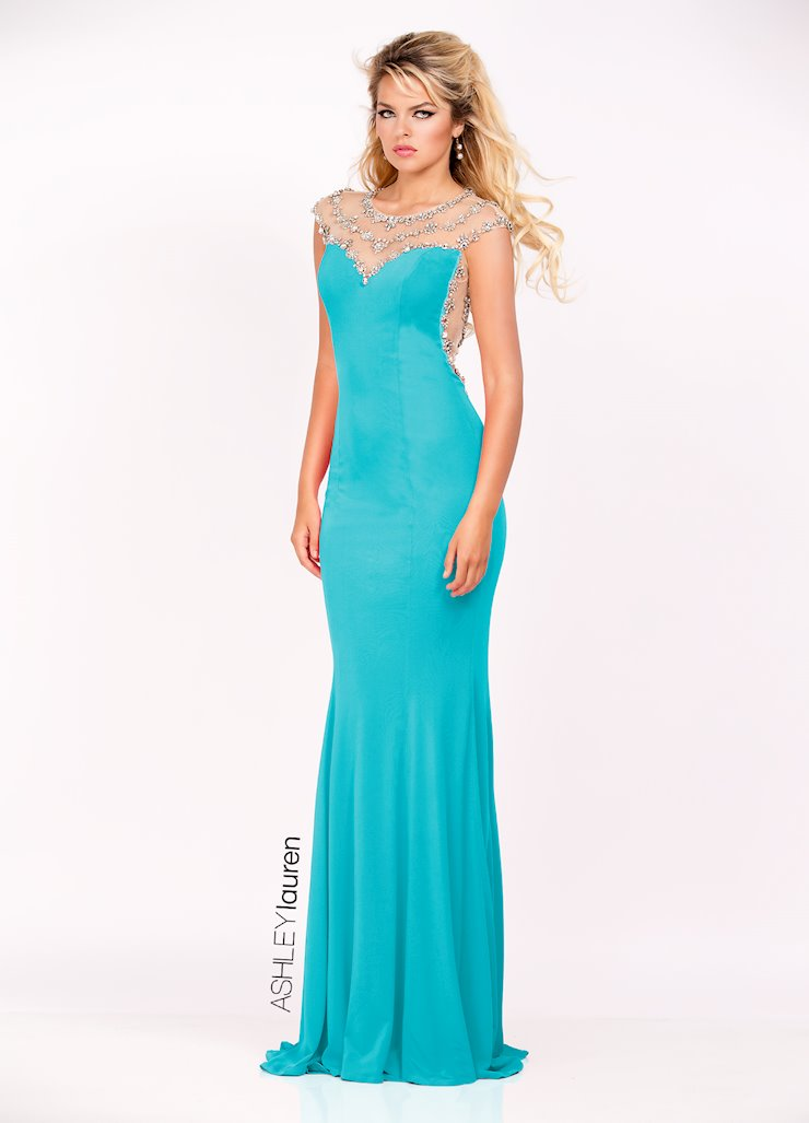 Ashley Lauren Illusion Back Jersey Evening Dress
