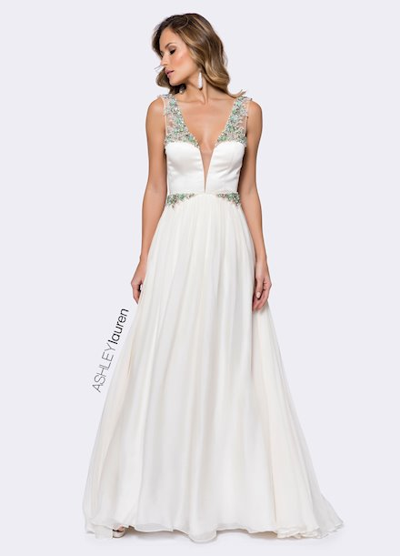 Ashley Lauren Turquoise & Pearl Beaded Evening Dress