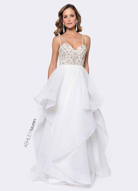 Ashley Lauren Beaded Bustier Evening Dress