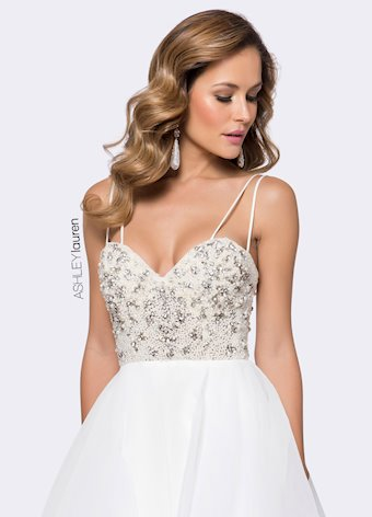 Ashley Lauren Beaded Bustier Evening Dress