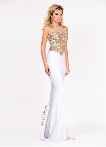 Ashley Lauren Embroidered Jersey Evening Dress