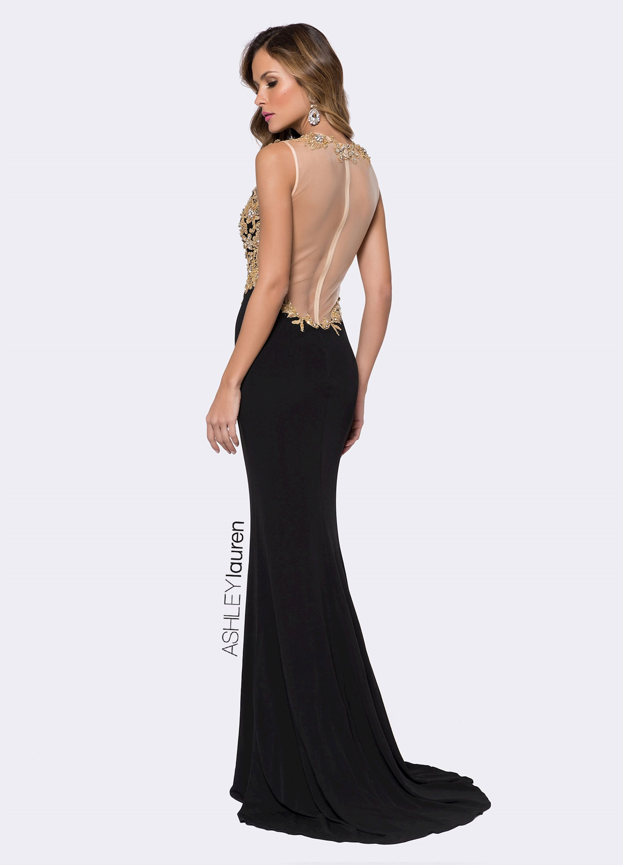 3c6ec7c90f Ashley Lauren Embroidered Jersey Evening Dress. Double tap to zoom