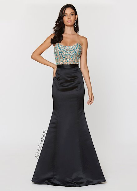 Ashley Lauren Strapless Illusion Bodice Evening Dress