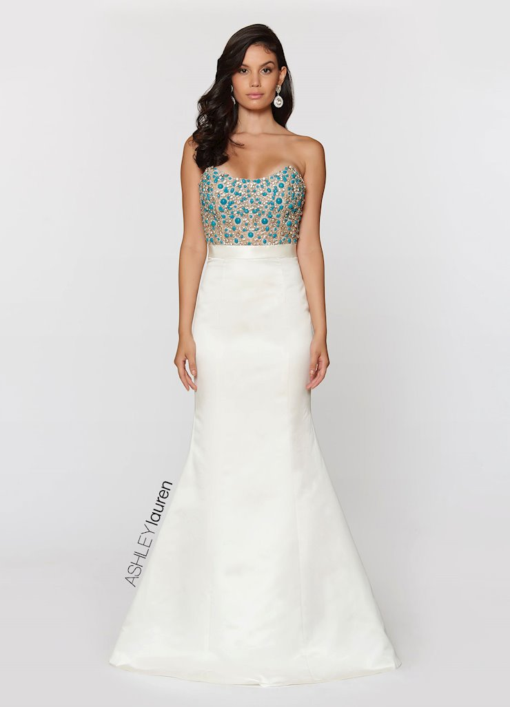 Ashley Lauren Strapless Illusion Bodice Evening Dress Image