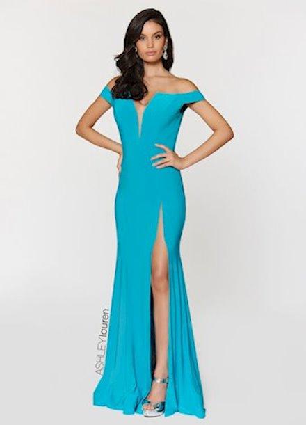 Ashley Lauren Off The Shoulder Jersey Evening Dress