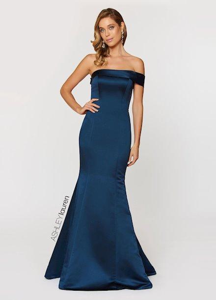 Ashley Lauren One Shoulder Satin Evening Dress