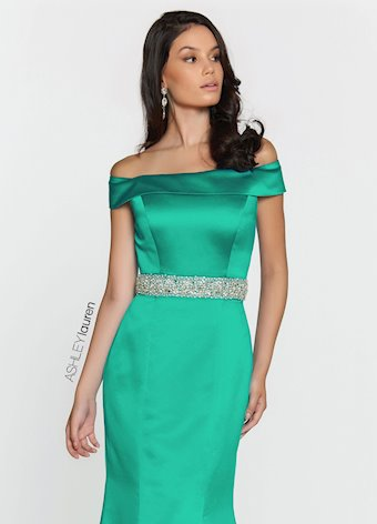 Ashley Lauren Off Shoulder Satin Evening Dress