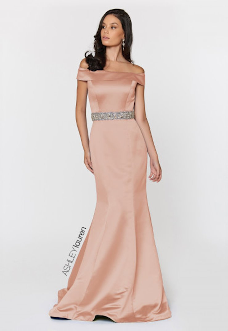 Ashley Lauren Off Shoulder Satin Evening Dress Image