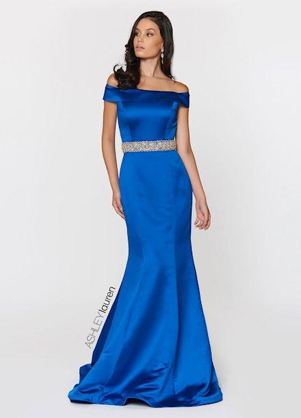 Ashley Lauren Off Shoulder Satin Evening Dress
