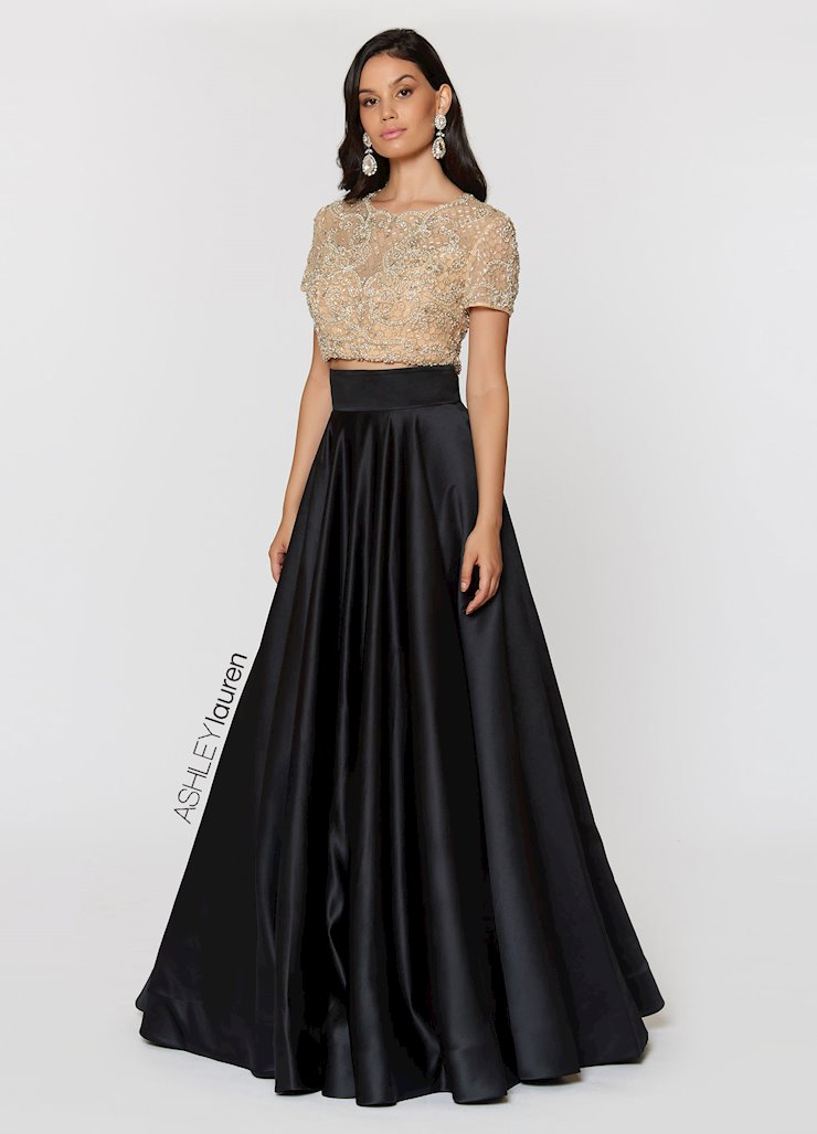 Ashley Lauren Beaded Two Piece Ball Gown Image
