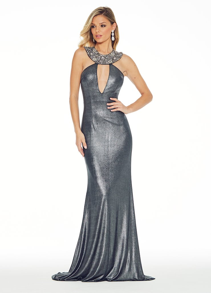 Ashley Lauren Beaded Pewter Jersey Evening Dress