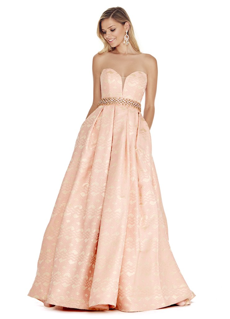 Ashley Lauren Blush Brocade Ball Gown
